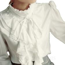 Winter Womens Satin Button Vintage Shirt Silky Blouse Victorian Top Size 8 -18 White 14