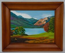"Oil Painting on Board LAKE DISTRICT UK View Landscape Signed ""PEGGY WAKEHAM"""