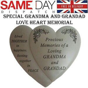 Special Grandma And Grandad Love Heart Shaped Memorial Ornament Grave Plaque New