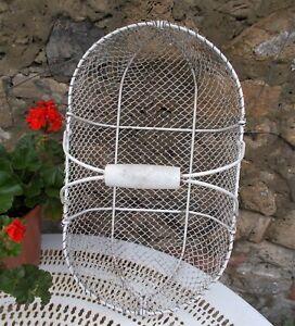 vintage white metal mesh basket, French, Plant, kitchen display, garden ,planter