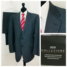 Marks & Spencer Collezione Mens Suit 48L 44W 33L Grey Striped Formal  (K51)