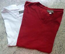 2 Stück Damen kurzarm Shirt Baumwolle rot weiß V Ausschnitt Gr L