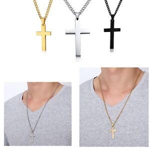 Metal Black Rosary Cross Pendant Long Chain Men Women Girl Necklace Fashion Gift
