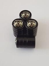 DODGE SILVER BLACK DELUXE car Valve Alloy wheel dust Caps ALL MODELS DART NITRO