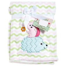 Lambs & Ivy Dena Happi Tree Chevron Baby Girl Pink Plush Blanket Hedgehog 30x43