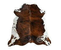 New Brazilian COWHIDE RUG Brindle White Belly Leather Cow Hide Cow Skin Cowskin