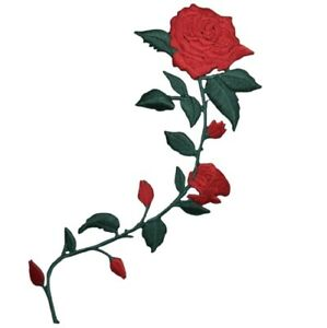 """Red Rose Applique Patch - Long Stem, Love, Flower Badge 5.5"""" (Iron on)"""