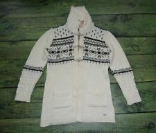 dale of norway sweater long cardigan jacket coat XL cream UNIQUE