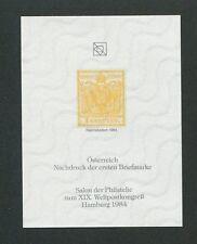 AUSTRIA No. 1 OFFICIAL REPRINT UPU CONGRESS 1984 MEMBERS ONLY !! RARE !! d8728