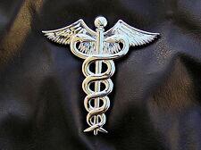 DOCTOR MEDICAL LOGO - 3 inch Caduceus METAL CAR EMBLEM *NEW!* Doctor's Badge