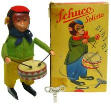 Vintage Schuco Wind-up Drummer Monkey Playing Drum w/Original Box & Key Germany