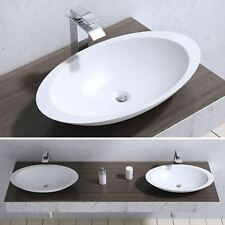 Durovin Bathrooms White Oval Stone Hand Cast Basin 593x351mm