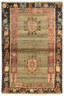 Vintage Tribal Oriental Gabbeh Rug, 4'x6', Grey, Hand-Knotted Wool Pile