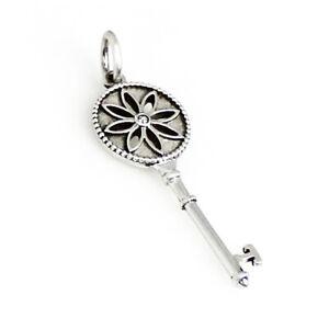 "Tiffany & Co Diamond Set Sterling Silver Daisy Key 1.5"" Pendant - DESIGNER SALE"