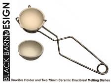 """Due 75 mm (3"""") Piatto di fusione/CROGIOLO CROGIUOLO con panna Tong HANDLE HOLDER"""