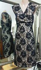Biatch black on cream lace dress.Sz8.Aus design. Stretchy. VGC