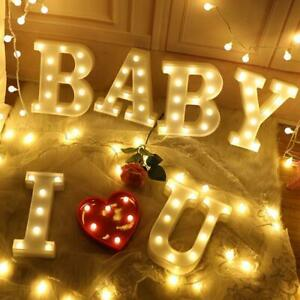 LED Light Larger Up Alphabet Letters Warm White Lights Plastic Numbers Standing