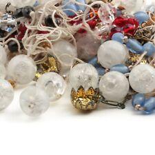 Lot vintage Czech satin blue matrix crystal glass beads, plastic beads, findings
