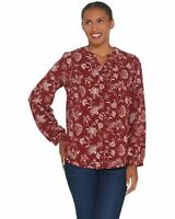Denim & Co. Womens Plus Stretch Crepe Y-Neck Button Front Shirt 1X Wine A345253
