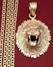 14k Yellow Gold Lion Face 3D Head Diamond Cut Charm Pendant Gucci Chain 20 Inch