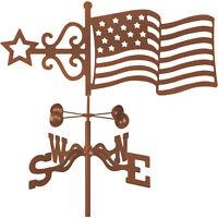 EZ Vane Outdoor Home Decor American Flag Design Garden Mount Metal Weathervane
