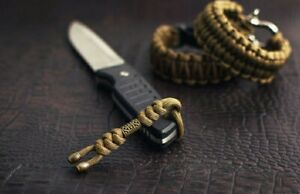 """550 Paracord Knife Lanyard """" Zeus """" coyote color with metal bead"""
