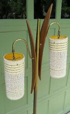 Mid Century Modern Teak Brass Floor Lamp Danish modern Retro Shades Outstanding!