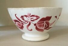 Old french bowl bol café au lait floral roses Rosendekor rot Digoin, Vintage ++