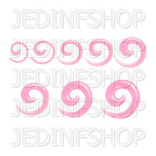 Ear Taper Stretcher - Spiral Snail | 1.6mm-10mm | Light Pink Transparent Acrylic