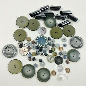 Button Lot Vintage Gray & Green Round Plastic & Shell Pearl Buttons Mixed Lot