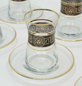 Turkish Tea Glass Set of 6 Cups Glasses Saucers Set Golden and Black frame