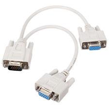 VGA 1 Male to 2 Female VGA Y Splitter Cable Cord 2 Way VGA SVGA Monitor Video Ca