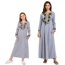 Muslim Mom&Girls Embroidery Abaya Long Maxi Dress Matching Clothing Islamic Robe