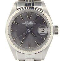 Rolex Date Ladies Stainless Steel & 18K White Gold Watch Jubilee Slate Gray 6917