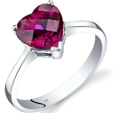 Oravo 14k White Gold 2 1/4ct TGW Created Ruby Heart 7