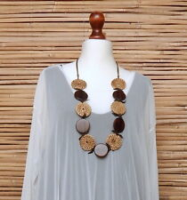 LAGENLOOK GERMAN AMAZING QUIRKY BOHO ART STRAW+WOOD EFFECT+BROWN CORD NECKLACE