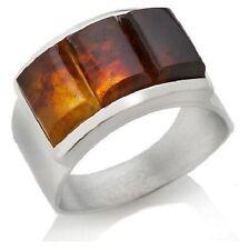 Jay King Sterling Silver Bezel Set Rectangular Amber 3-Stone Band  Ring Sz 6