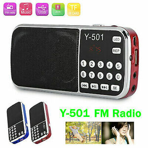 Y-501 Receptor de radio FM portátil digital Mini reproductor de MP3 USB con