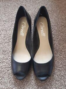 "Ladies Size 8 Corelli ""Alice""Peep Toe Black Wedge Shoes"