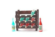 Bois étagère à vin + 9 bouteilles/wood wine rack Dollhouse poupée 1:12 type d216