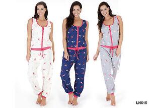 NEU Damen Onesie Jumpsuit Jersey Overall Nachtwäsche Freizeit Baumwolle Flamingo