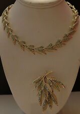 AB Mint Green Rhinestone Leaf Leaves Necklace and Pin Brooch Set Signed DODDS