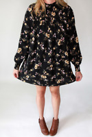 Womens Dress/Tunic ~ Fall/Winter Black Floral
