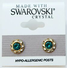 Turquoise Crystal Made with Swarovski Blue Round Roundel Earring Gold 9mm
