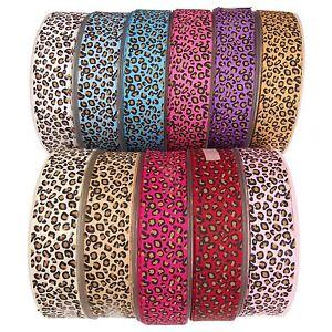Premium Grosgrain Leopard Print Ribbon - Cheetah Animal Design Wild Craft