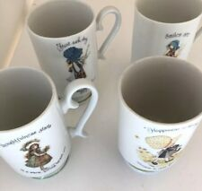 Lot of 4 Vintage 1970's Holly Hobbie Footed Porcelain Coffee Cups/Mugs, Japan
