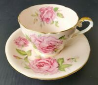 Aynsley Pink Teacup and Saucer Large Cabbage Roses Vintage Tea Cup Set