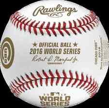 Rawlings Official 2016 World Series Champs Cubs logo & scores MLB Baseball BOXED
