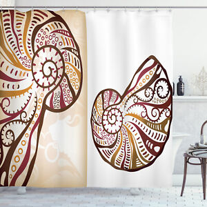 Ocean Shower Curtain Seashells Abstract Boho Print for Bathroom