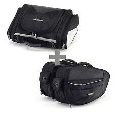 BikeTek Urbano Motorcycle Luggage Touring Tail & Pannier Bag Pack Combo - Black